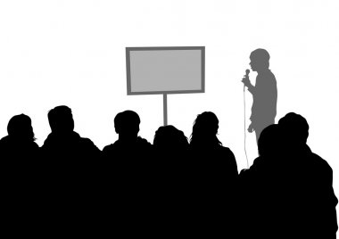 Crowd and speaker on white background