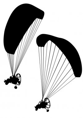 Motorized paraglider on white background
