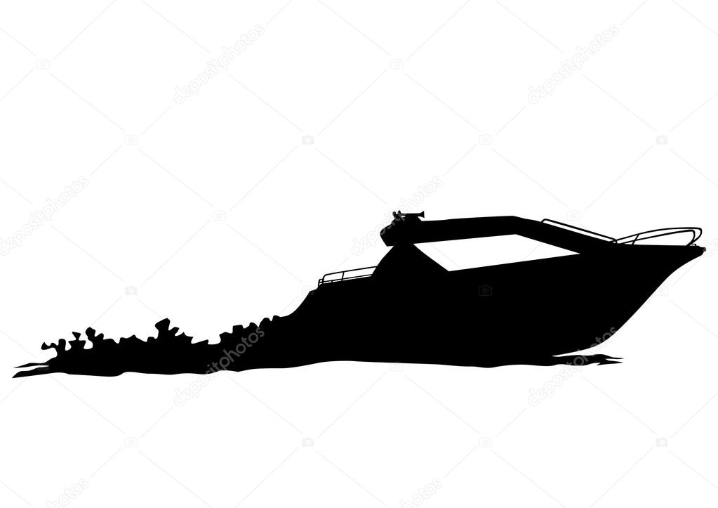 Motor ship on white background