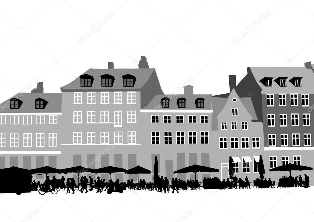 Cafe y casa sobre fondo blanco — Vector de stock © grynold #95032900