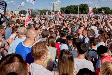 August 16 2020 Minsk Belarus People walk during a demonstration under a large flag