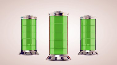 Three glass battery are charged