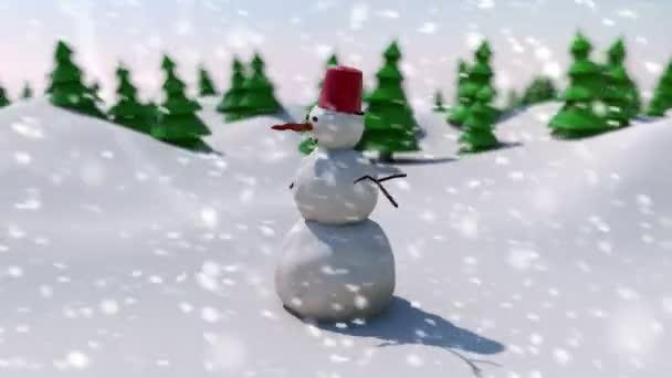 sněhulák na zasněženém poli
