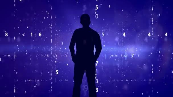 Silhouette of man on matrix