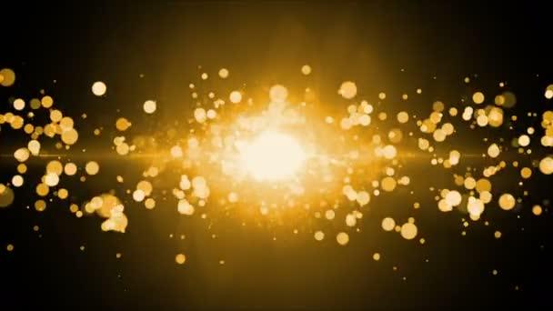 zlaté zářící světlo, záření a částic