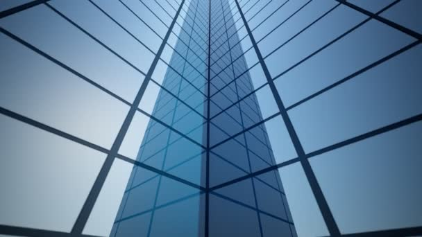 3D-Rendering eines abstrakten hellen Wolkenkratzers mit beweglicher Kamera und nahtloser Endlosschleife. Einfache Formen von Gebäuden bei Tageslicht mit Reflexionen.
