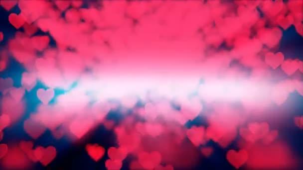 Dekorativní srdce pozadí se spoustou valentýnů srdce animace.