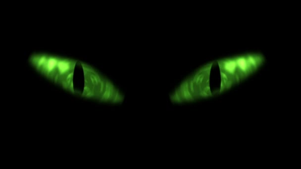 Green cat eyes blinking