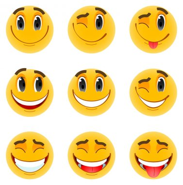Set of nine yellow emoticons. Positive emotions, optimistic mood, smiles. Vector, isolated on white background. icon