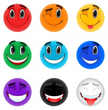 Vector set of emoticons in the colors of the rainbow. Funny faces, smiles, positive emotions and different colors. Isolated kit on a white background icon