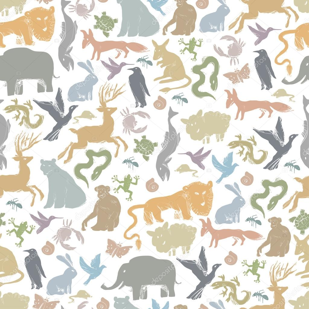 Animals Silhouettes Seamless Pattern stock vector