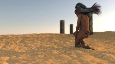 Fantasy mystery girl in desert