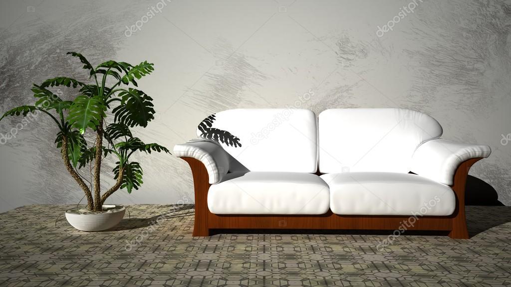 Canape Blanc Avec Une Plante Verte Dans La Chambre