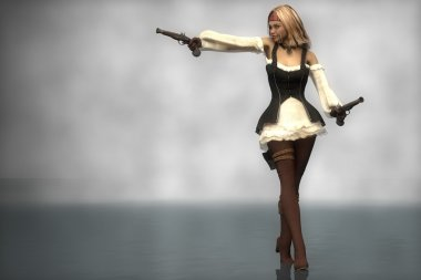 Pirate girl standing with guns