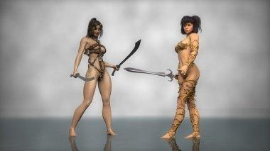 Warrior girls  with swords