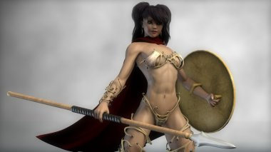 Spartan warrior girl with shield and spear