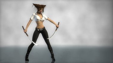 Warrior girl standing with two swords
