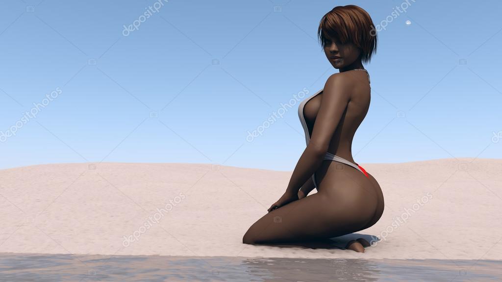 Мулатка на пляже фото 615-409
