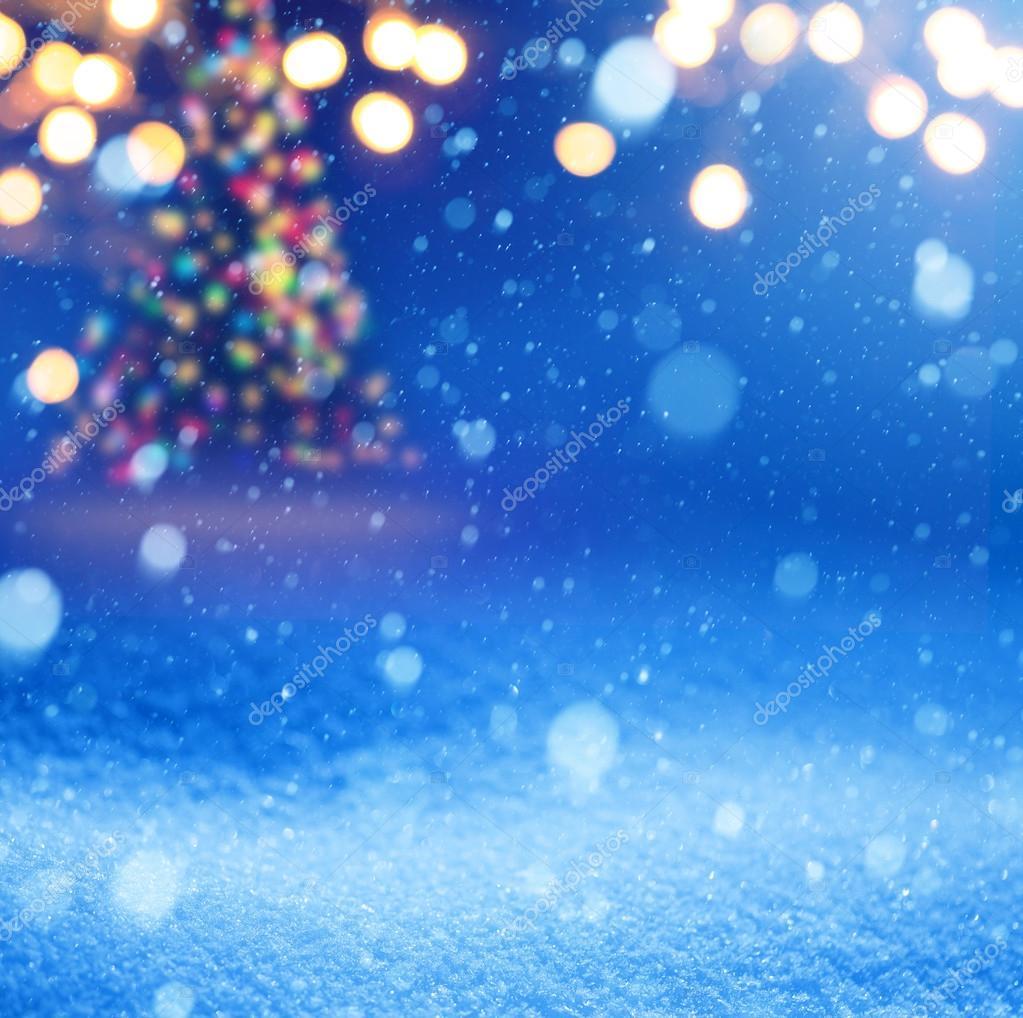 Kunst Schnee Weihnachten Magische Lichter Hintergrund — Stockfoto ...