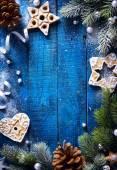 umění vánoční modré dřevěné pozadí sněhu jedle a Chri