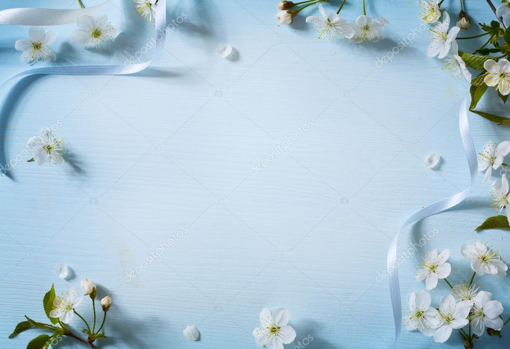 Art Spring Flowers Background With White Blossom Stock Photo