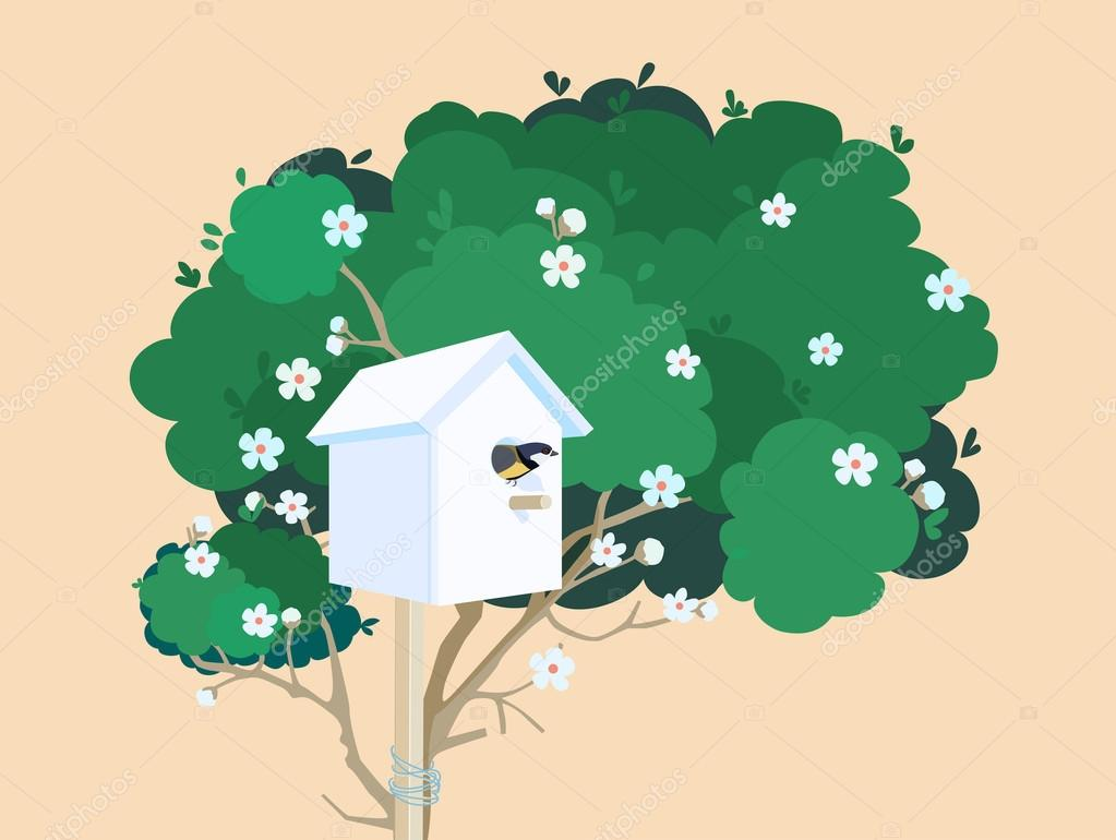 A white nesting box on a blossoming tree