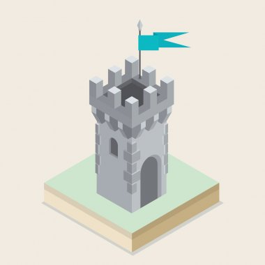 An isometric castle tower