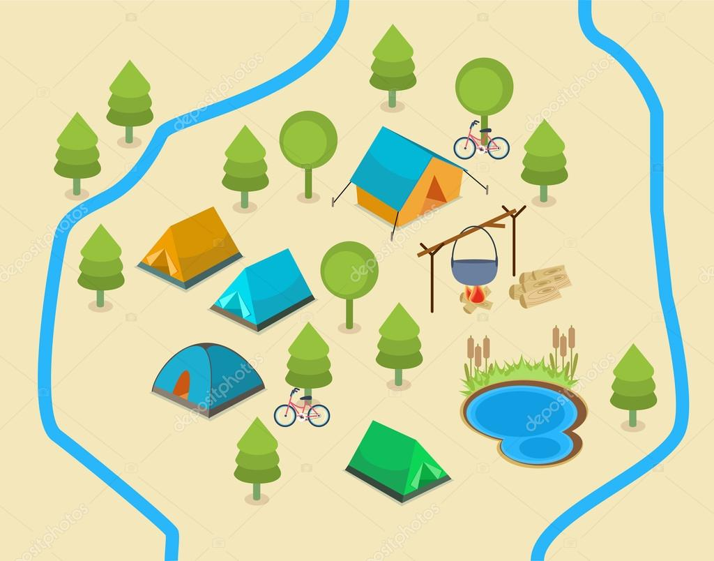 Mapa De Camping Vector De Stock C Veralub 82433828