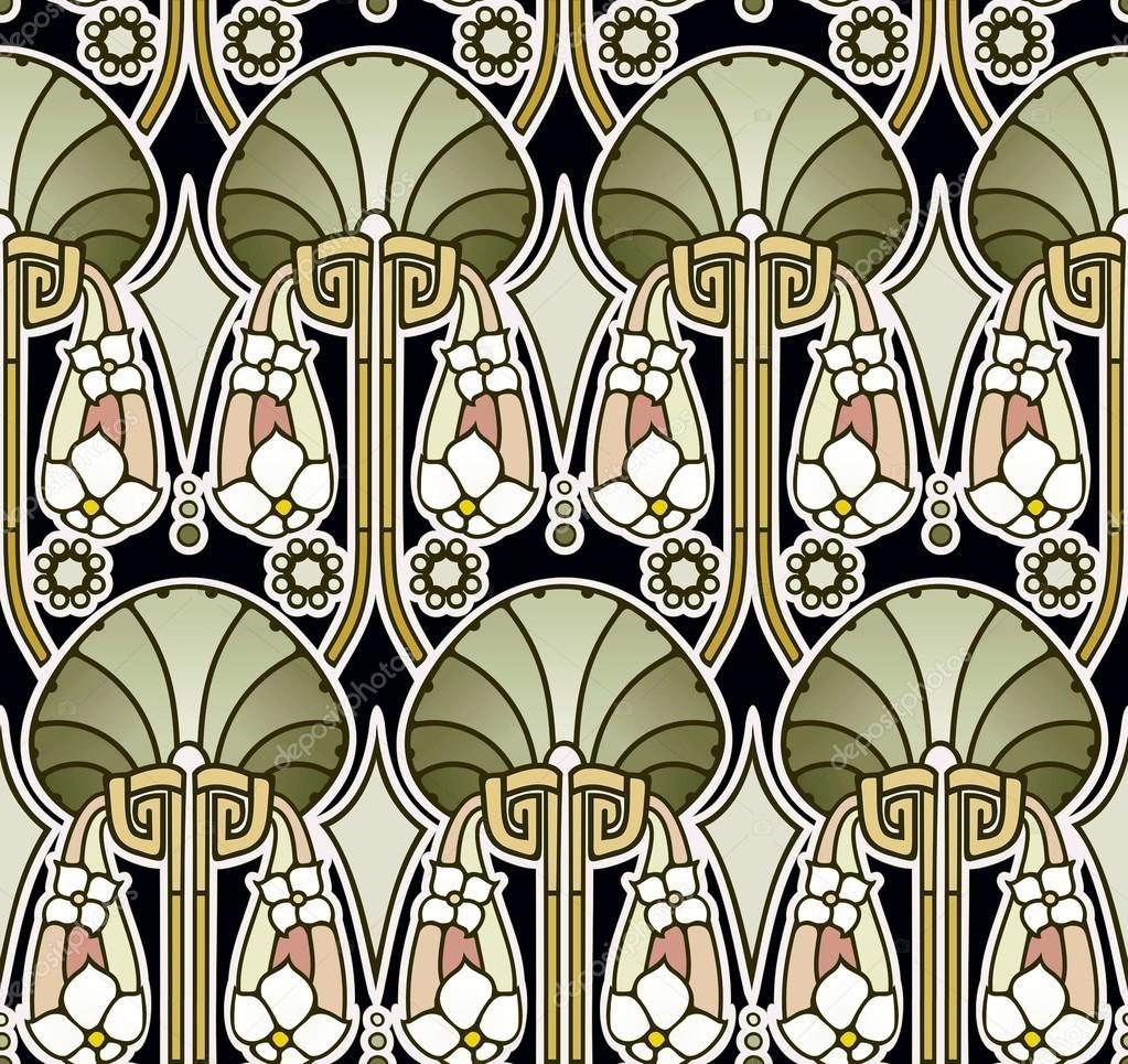 Green Art Nouveau Wallpaper Stock Photo Therealdarla