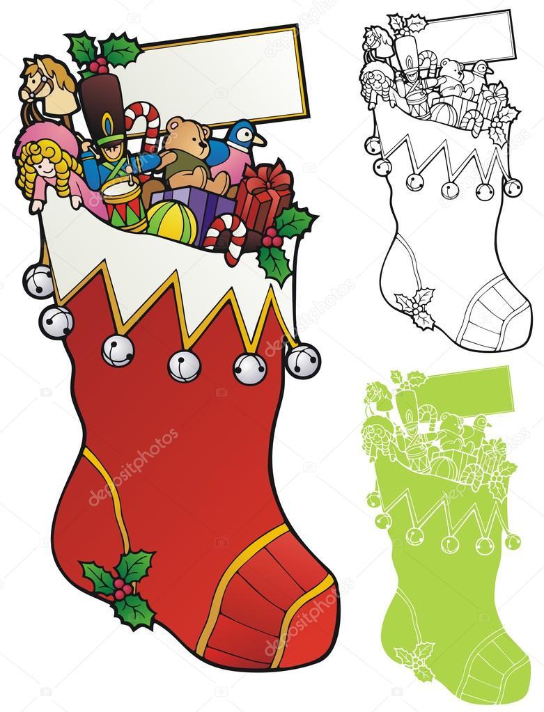 giant christmas stocking stock vector - Giant Christmas Stocking