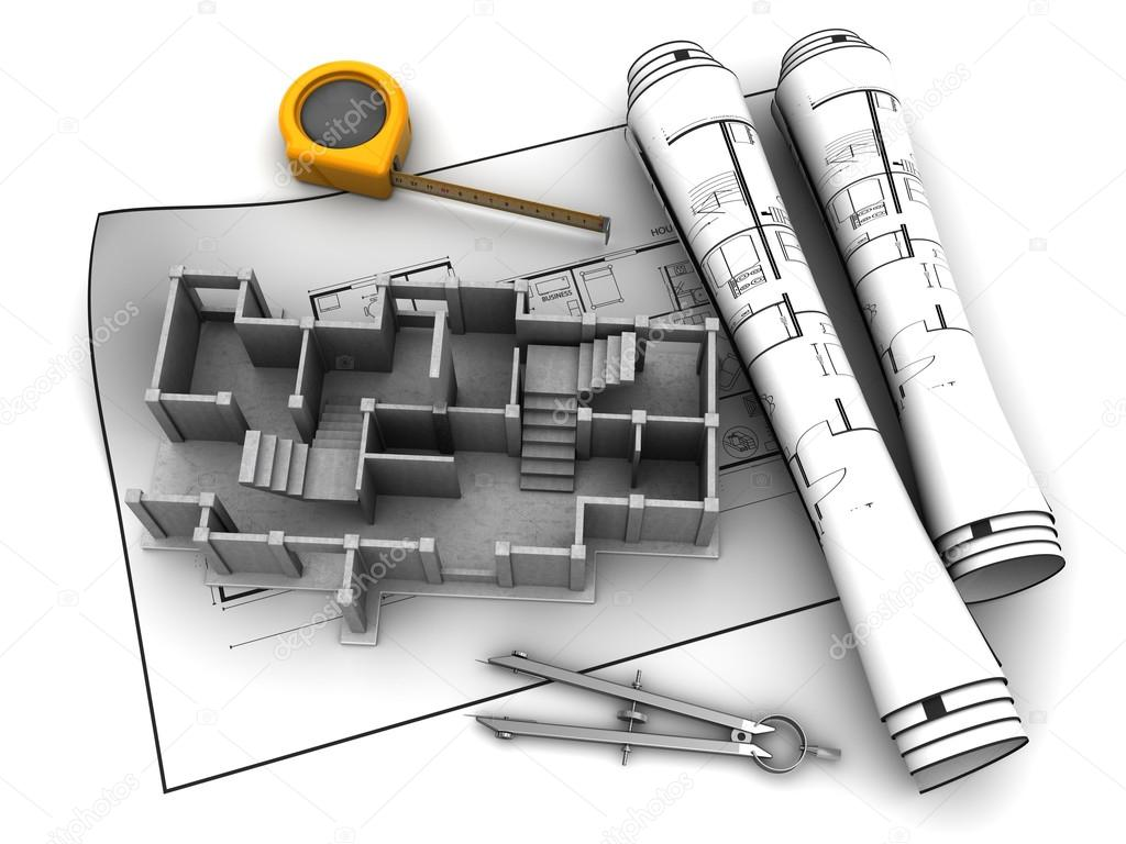 Building construction over blueprints stock photo mmaxer 111516550 abstract 3d illustration of building construction over blueprints photo by mmaxer malvernweather Images