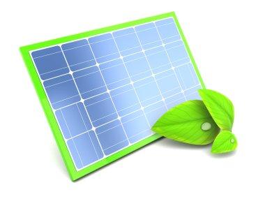 3d illustration of green energy solar panel stock vector