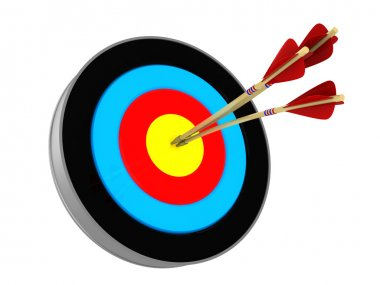 3d illustration of archery target with three arrows stock vector