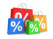 Shopping bags with percent signs