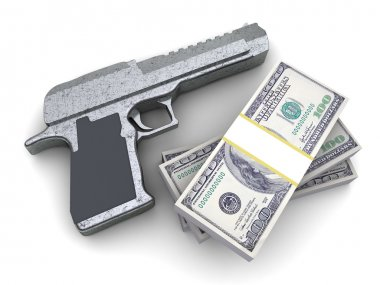 3d illustration of pistol and money, over white background stock vector