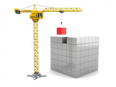 Cubes construction with crane tower