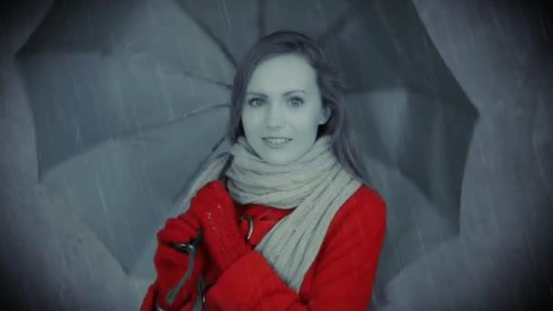 Woman in red coat under umbrella