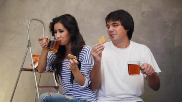 Couple having break