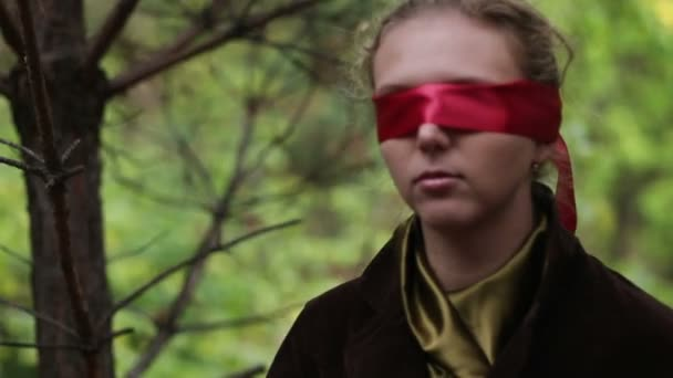 Woman With Red Blindfold Stock Video Mmaxer 66468823