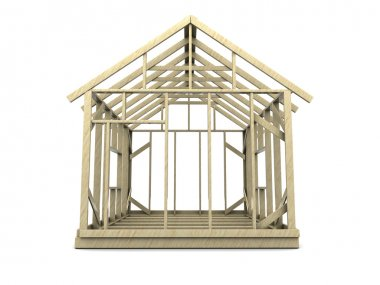 house frame over white