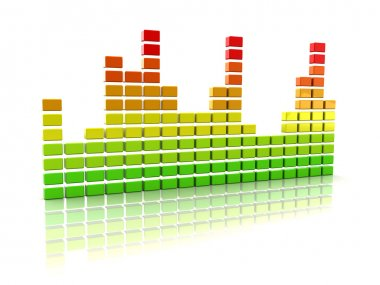Abstract 3d illustration of music spectrum over white stock vector