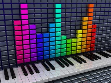 audio spectrum and piano keys