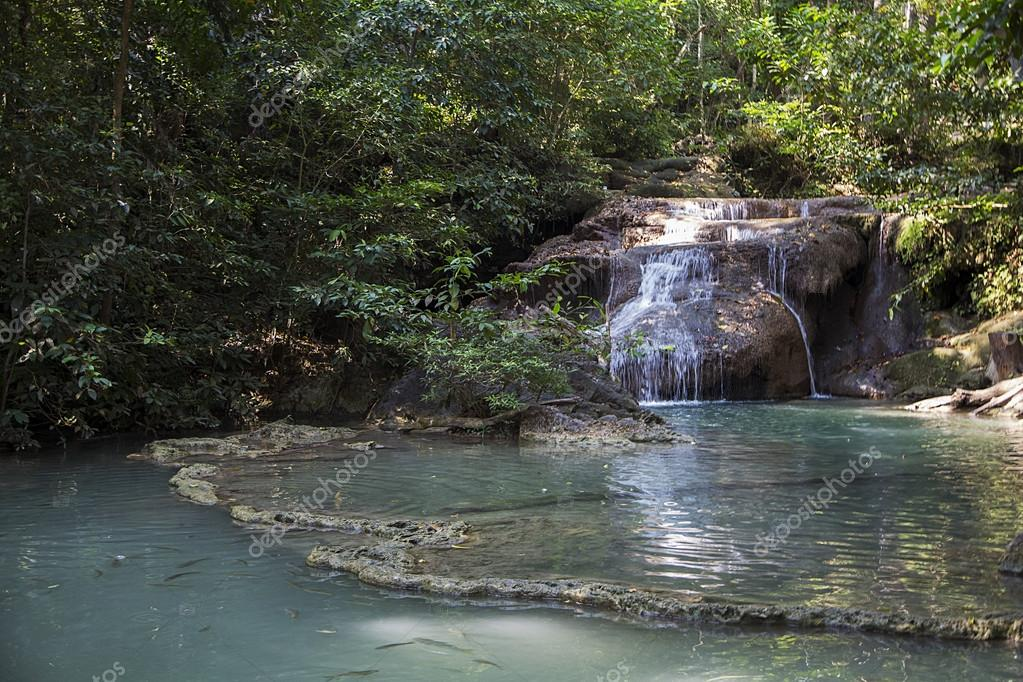Erawan waterfalls in Thailand