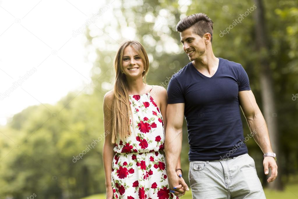 Loving couple in the park
