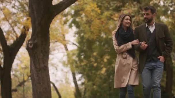 Hezký mladý pár procházky v podzimním parku