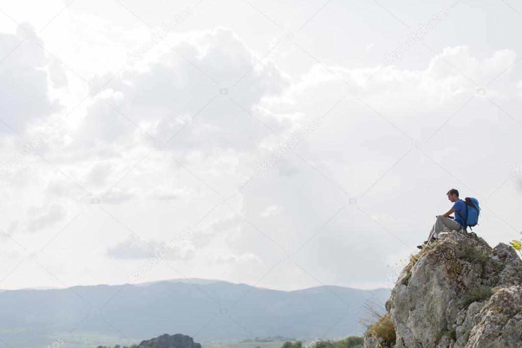 Man hiking on the mountain