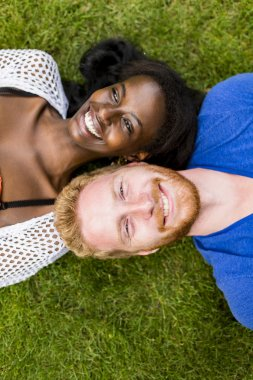 Multiracial couple in the park