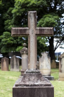 grave cross at cemetery