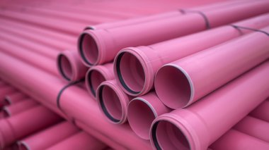 Stack of plastic pipes