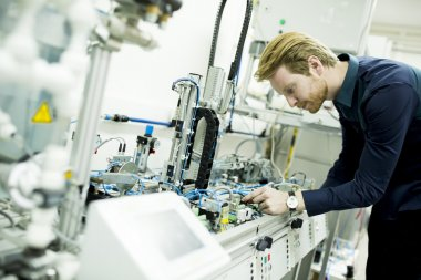Engineer while working in the factory